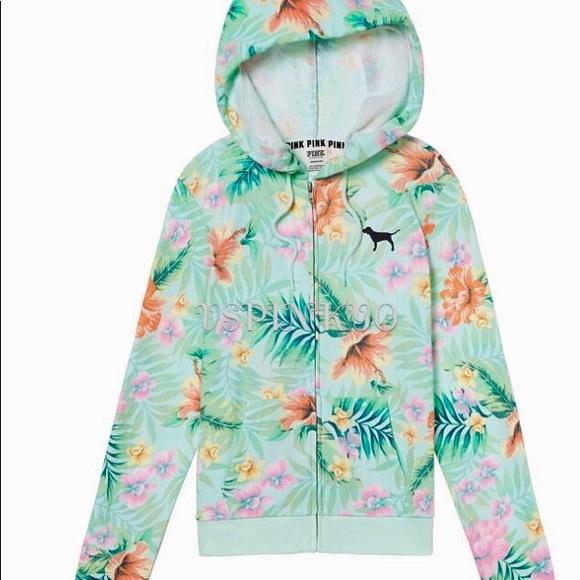 03948f4f42c1e Victoria's Secret Pink Perfect Zip Hoodie Floral M NWT